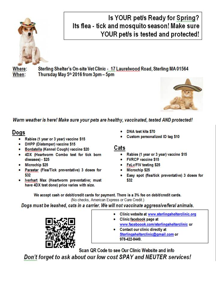 Low Cost Vaccination/Testing Clinic - Thursday May 5th 2016